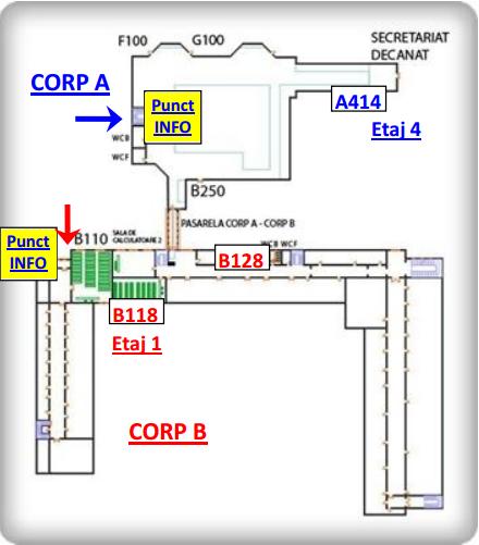 Amplasarea laboratoarelor ce se pot vizita în facultatea de electronică